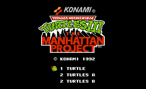 Teenage Mutant Ninja Turtles III: The Manhattan Project Title Screen